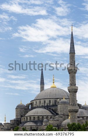 Dome and minarets of Blue Mosque - stock photo