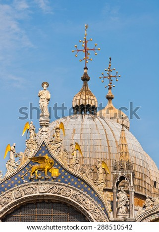 Dome detail of San Marco Basilica in Venice Italy - stock photo