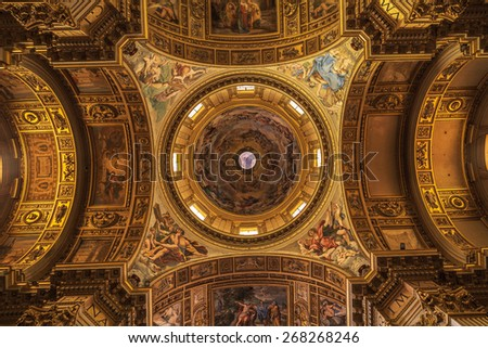 Dome in Sant'Andrea della Valle basilica in Rome, Italy - stock photo
