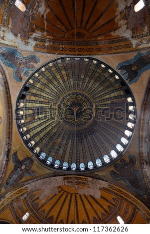 Dome of Hagia Sofia (Santa Sofia), also called Ayasofya, built as a cathedral by Justinian I in the sixth century and turned into a mosque during the Ottoman Period - stock photo