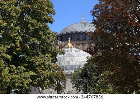 Dome of Hagia Sophia in Istanbul, Turkey - stock photo