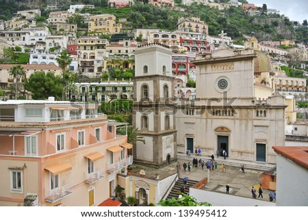 Dome of Positano (Costiera Amalfitana - Italy). UNESCO World Heritage Sites. - stock photo