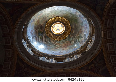 Dome of St Peter's Basilica, from within. Vatican. - stock photo