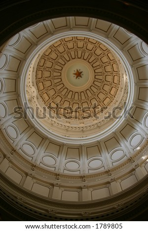 Dome of Texas Capitol building in Austin