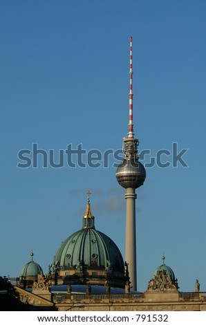 Dome of the Berlin Cathedral (Berliner Dom) and the TV Tower at Alexanderplatz in Berlin, Germany - stock photo