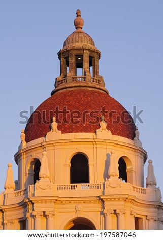 Dome of the historic Pasadena City Hall in Pasadena, California, USA. The Pasadena City Hall is listed on the National Register of Historic Places.