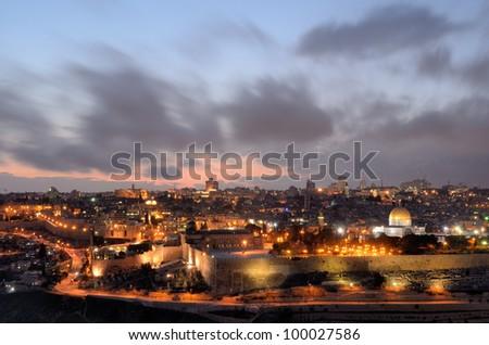 Dome of the Rock along the Skyline of Jerusalem, Israel. - stock photo