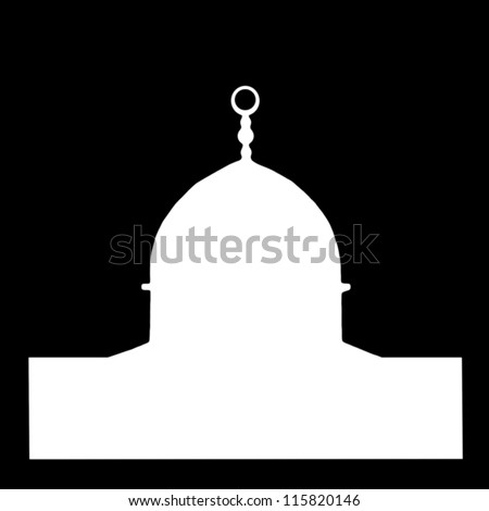 Dome of the Rock white silhouette on night sky background: a religious landmark. Jerusalem. Israel - stock photo