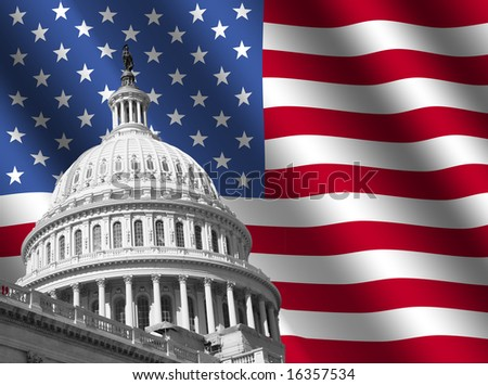 dome of US Capitol building Washington DC with rippled American flag
