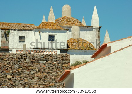 Dome roofs of medieval village Monsaraz - stock photo