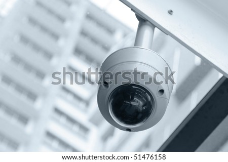 Dome type CCTV camera - stock photo