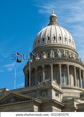 Domed Capitol Building in Boise Idaho USA - stock photo
