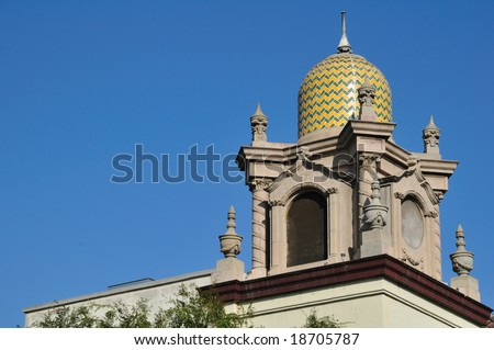 domed steeple of the Plaza Methodist Church on Olvera Street in Los Angeles - stock photo