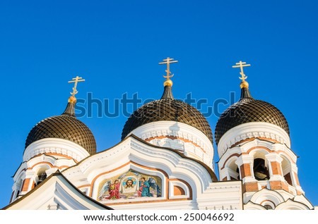 Domes of Alexander Nevsky Cathedral in Tallinn. - stock photo