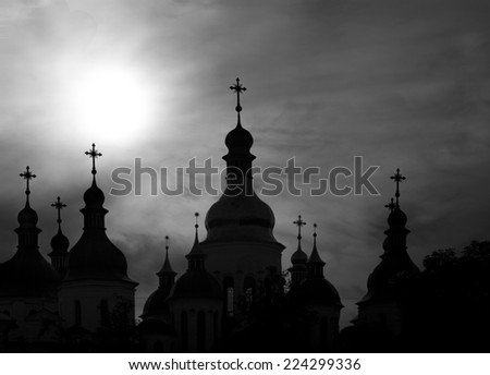 Domes of orthodox church in black and white photos - stock photo