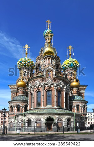 domes of Orthodox Church of the Savior on blood in St. Petersburg - stock photo