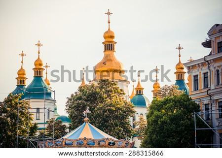 Domes of Saint Sophia cathedral in Kiev, Ukraine - stock photo