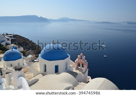 Domes of the old church on the edge of the caldera of Santorini, Greece
