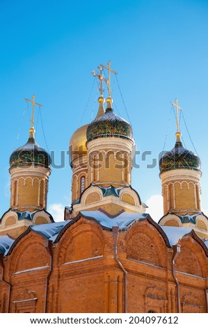 Domes of the Orthodox Church in Moscow - stock photo