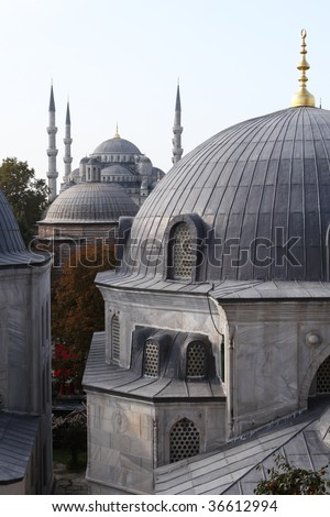 Domes of two greatest Istanbul Mosques (Sultanahmet and Haghia Sofya) - stock photo