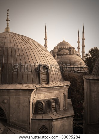 Domes of two greatest Istanbul Mosques (Sultanahmet and Haghia Sofya), vintage