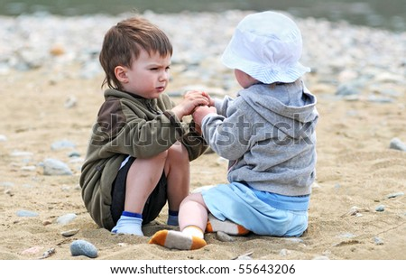 domestic altercation between two kids brothers - stock photo