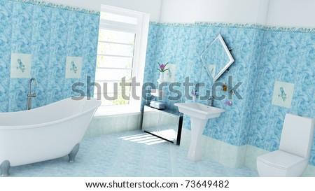 domestic bathroom - stock photo