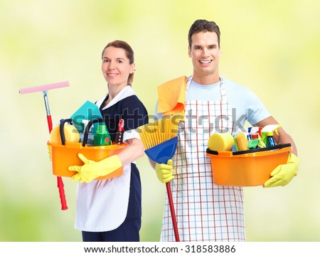 Domestic housekeeping service team. Home cleaning people. - stock photo