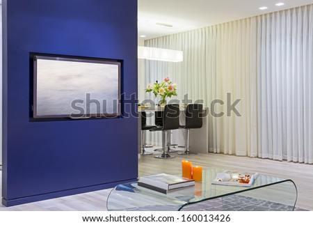 Domestic Kitchen Design and Modern Living Room  - stock photo