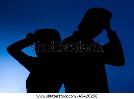 domestic problems. silhouette men and women blue background