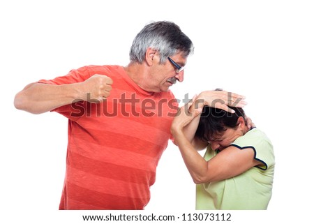 Domestic violence abuse concept, photo of aggressive man and unhappy woman, isolated on white background. - stock photo