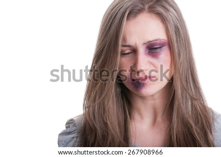 Domestic violence victim concept with a beaten woman portrait - stock photo