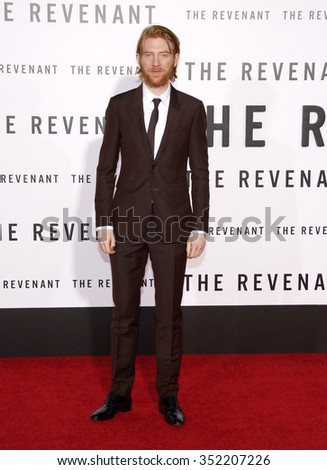 Domhnall Gleeson at the Los Angeles premiere of 'The Revenant' held at the TCL Chinese Theatre in Hollywood, USA on December 16, 2015.