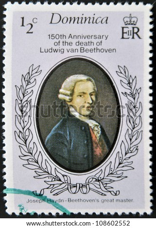 DOMINICA - CIRCA 1977: A stamp printed in Dominica shows Ludwig van Beethoven, circa 1977 - stock photo