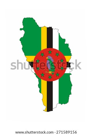 dominica country flag map shape national symbol - stock photo