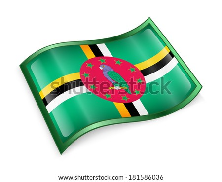 Dominica flag icon, isolated on white background - stock photo
