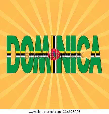 Dominica flag text with sunburst illustration - stock photo