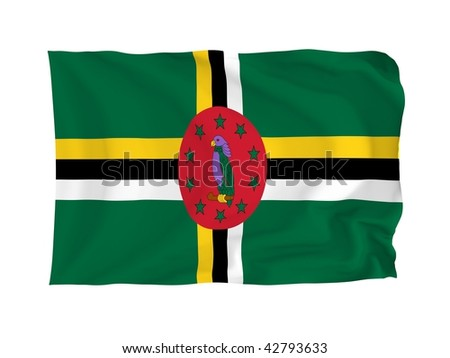 Dominica. High resolution North American Flag series. With fabric texture.