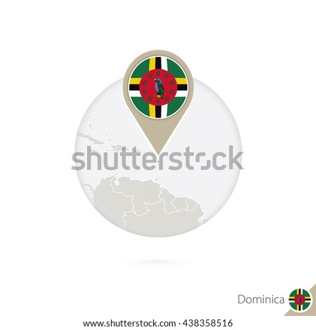 Dominical map and flag in circle. Map of Dominica, Dominica flag pin. Map of Dominica in the style of the globe. Raster copy. - stock photo