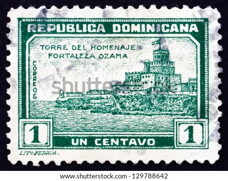 DOMINICAN REPUBLIC - CIRCA 1932: a stamp printed in Dominican Republic shows Tower of Homage, Ozama Fortress, circa 1932 - stock photo