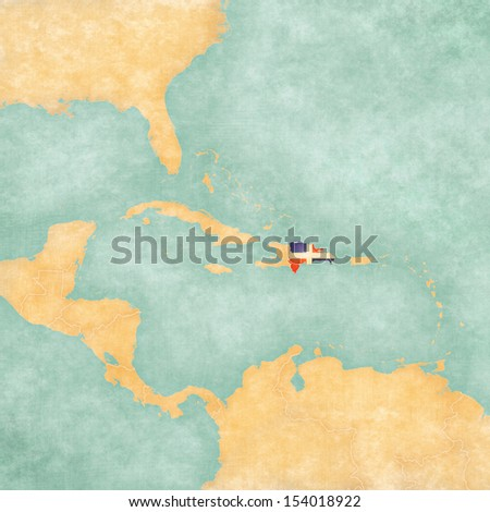 Dominican Republic (Dominican flag) on the map of Caribbean. The Map is in vintage summer style and sunny mood. The map has a vintage atmosphere, which acts as a watercolor painting.  - stock photo