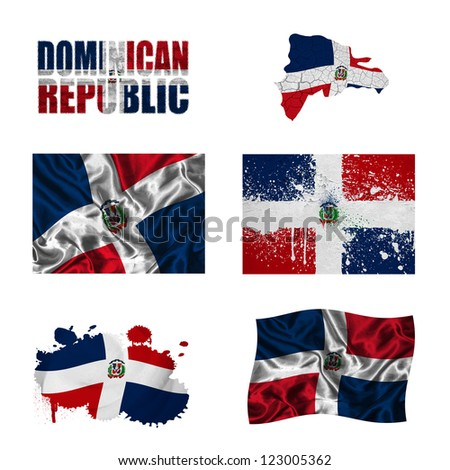 Dominican Republic flag and map in different styles in different textures - stock photo