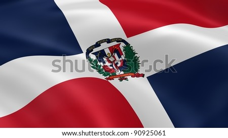 Dominican Republic flag in the wind. Part of a series. - stock photo
