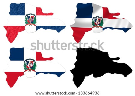 Dominican Republic flag over map collage - stock photo