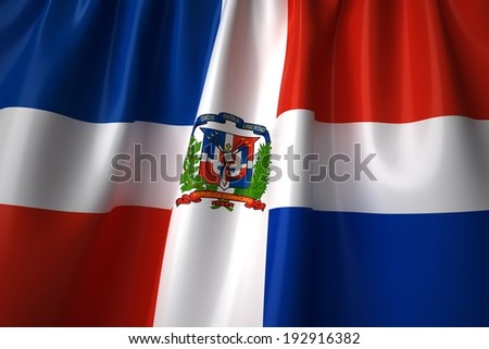 Dominican Republic waving flag with accurate colors and design. - stock photo