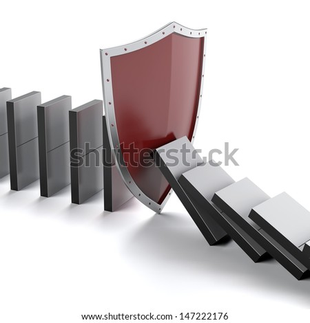 Domino and shield - stock photo