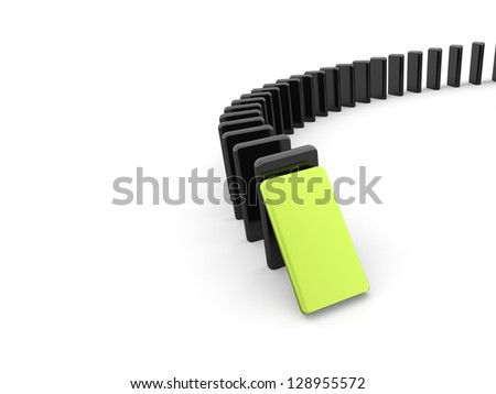 Domino effect one is green on white background - stock photo