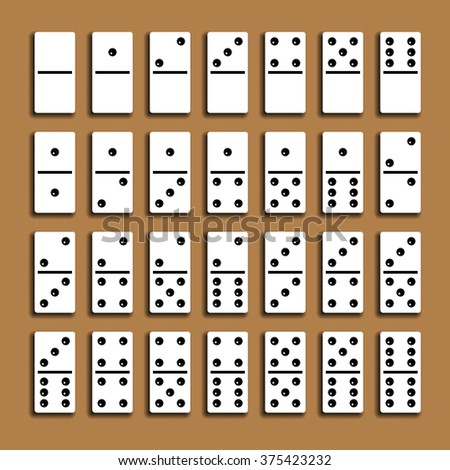 Domino full set with shadows on a brown background. - stock photo