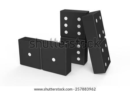 domino isolated on white background - stock photo