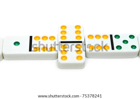 Dominoes - board game isolated on white background. - stock photo
